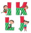 Alphabet kids ijkl vector