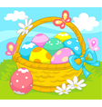 Basket of easter eggs vector