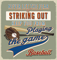Baseball striking out vector