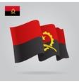 Flat and waving angolan flag vector