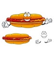 Cartoon grilled fast food hot dog character vector