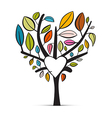 Colorful abstract heart shaped tree on white vector
