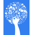 Hand social media tree vector