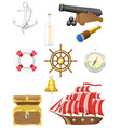 Set of sea antique icons vector