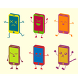 Happy cute kawaii smart phone characters vector