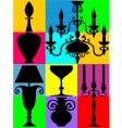 Silhouettes of decorated home objects vector