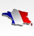 Three dimensional map of france in flag colors vector