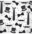 Background silhouettes of neckties ties hats and m vector