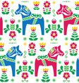 Swedish folk art dala daleclarian horse patter vector
