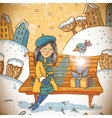 Girl with a gift on winter background vector