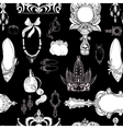 Seamless princess accessories on black vector