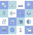 Network icons set flat line vector