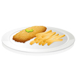French fries and cutlet vector