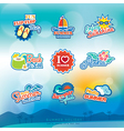 Summer label sticker badge icon set vector