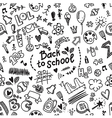 Seamless doodle pattern with school supplies vector