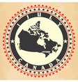 Vintage label with map of canada vector
