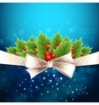 Christmas background with bow and holly vector