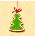 Christmas tree chocolate honey-cake greetings card vector