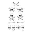 Set of skulls black contour vector