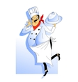 Nice chef serving the dish vector