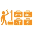 Worker and set portfolio with tools for repair vector