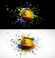 Spain flag with soccer ball dash on colorful vector