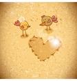 Cartoon birds with heart vector