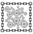 Gears in chain frame vector