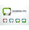 Pc screen logo design made of color pieces vector
