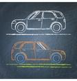 Car sketch on chalkboard vector