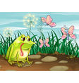 A frog and the three butterflies vector