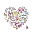 Heart shape design with toys for baby girl vector
