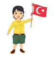 Boy with turkish flag vector