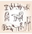 Furniture sketch set vector