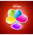 Happy birthday theme colorful air balls on red vector