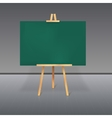 Wooden tripod with a green chalkboard vector