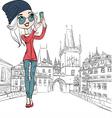 Hipster girl makes selfie in prague vector