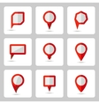 Pointer red icons set various forms vector