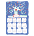 Calendar 2014 snow tree vector