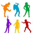 Set of colored silhouettes of children playing vector