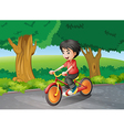 A boy biking near the big trees vector