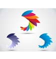 Abstract symbol bird abstract icon on leaf vector