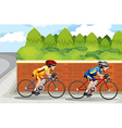 Two men biking vector