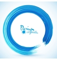 Blue paintbrush circle frame vector