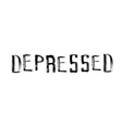 The word depressed handwritten grunge brush strok vector