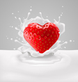 Strawberry heart with milk vector