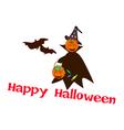 Halloween pumpkin with candy basket vector