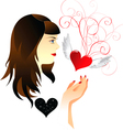 Girl and heart vector
