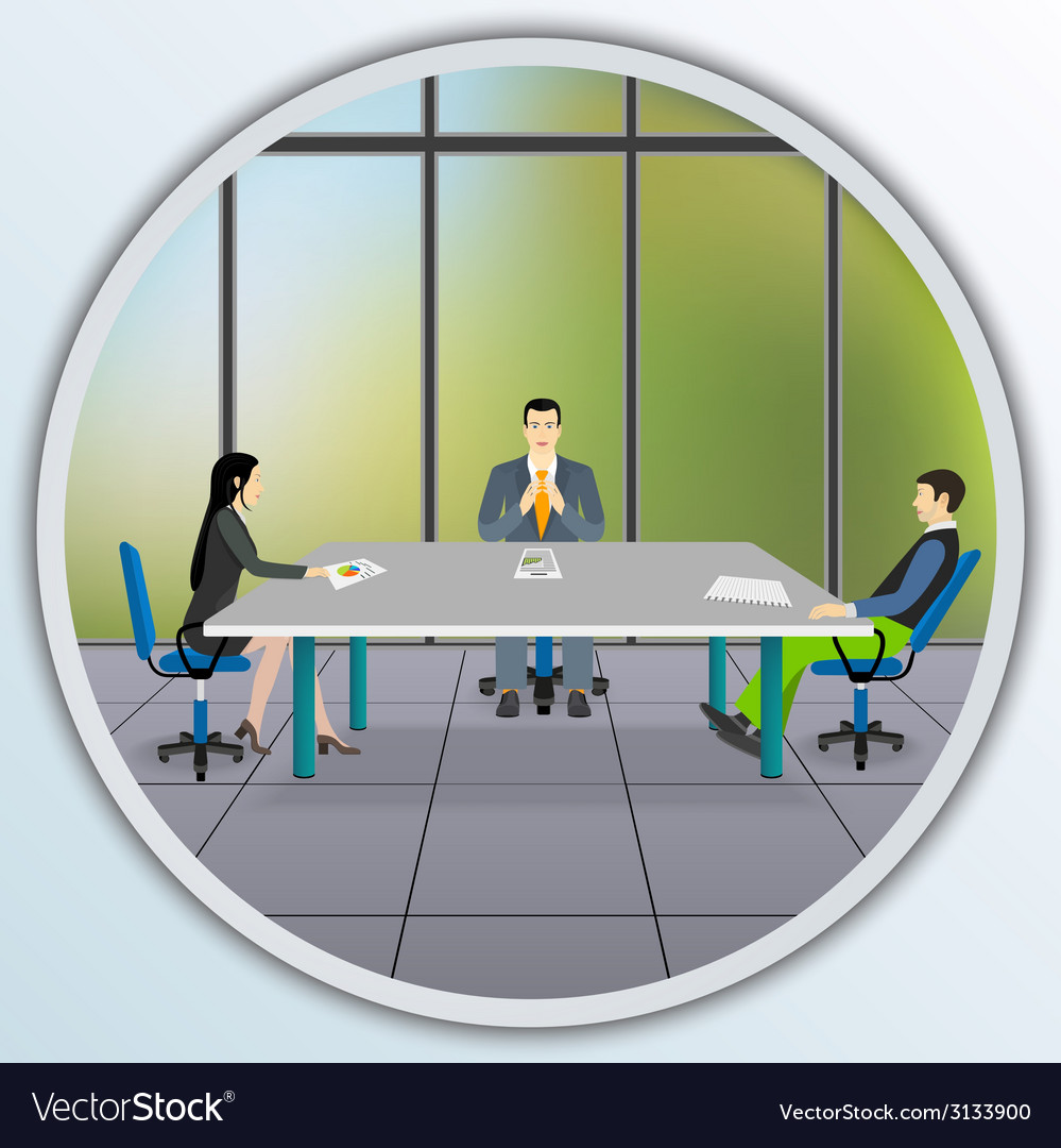 Business people sitting at the negotiating table vector | Price: 1 Credit (USD $1)