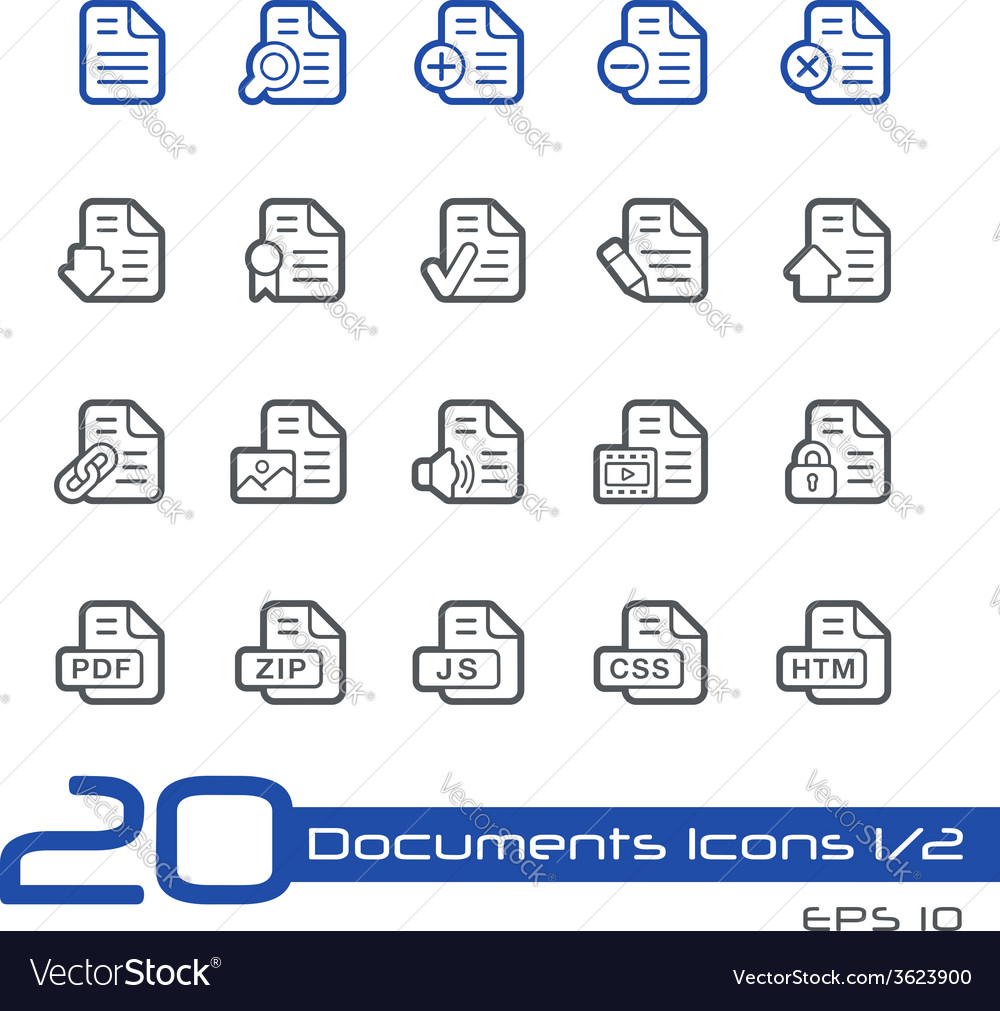 Documents icons outline series vector | Price: 1 Credit (USD $1)
